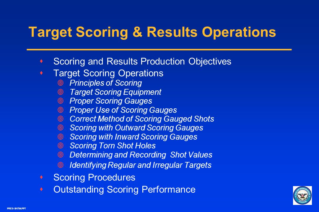 Target Scoring & Results Operations