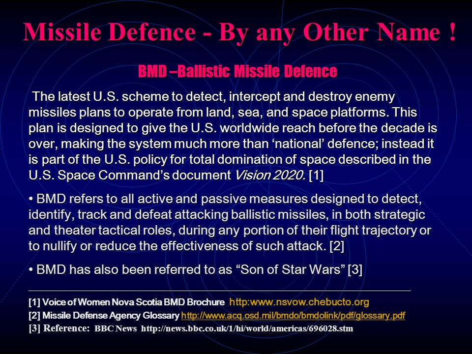 Missile Defence - By any Other Name !