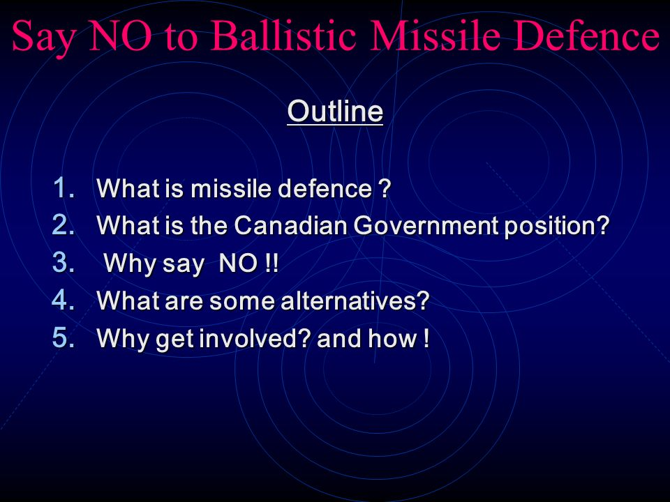 Say NO to Ballistic Missile Defence