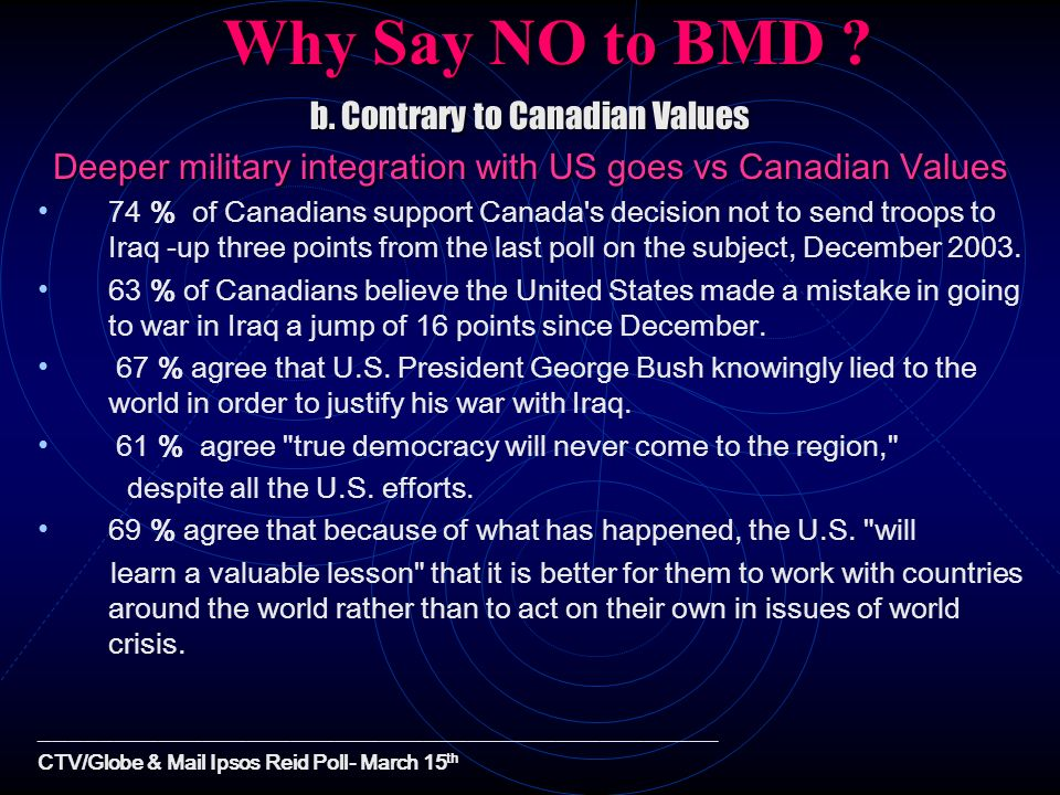 Why Say NO to BMD b. Contrary to Canadian Values