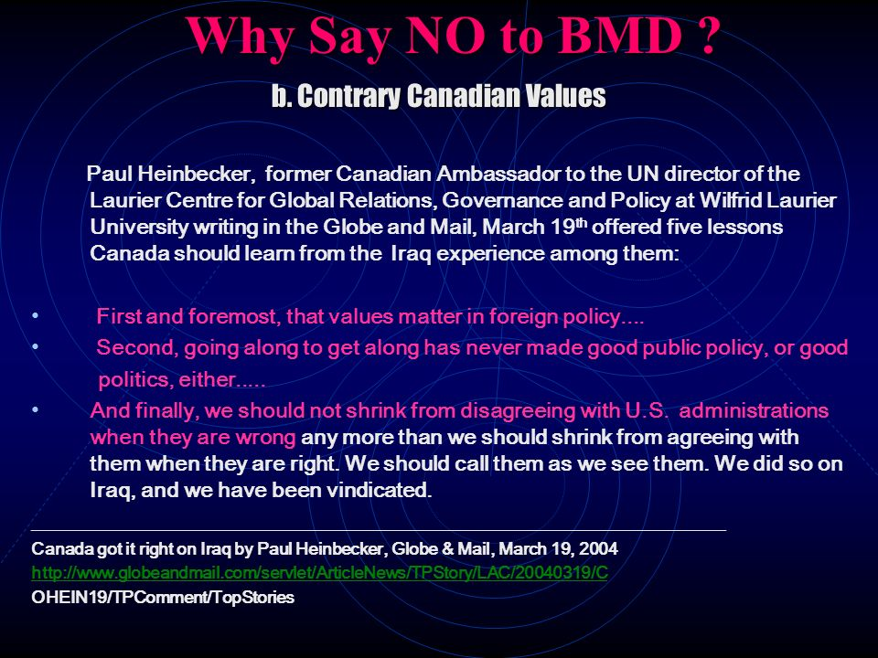 b. Contrary Canadian Values