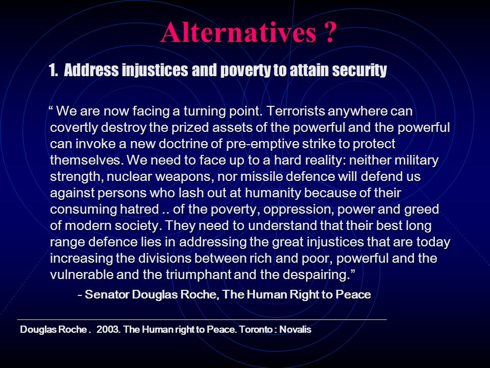 Alternatives 1. Address injustices and poverty to attain security