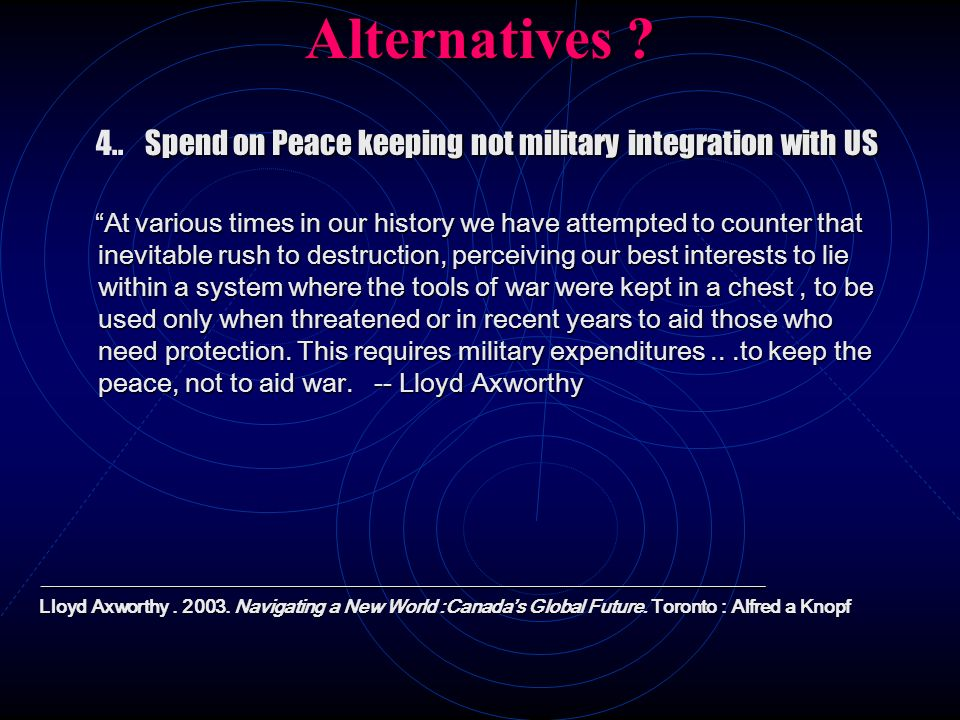 Alternatives 4.. Spend on Peace keeping not military integration with US.