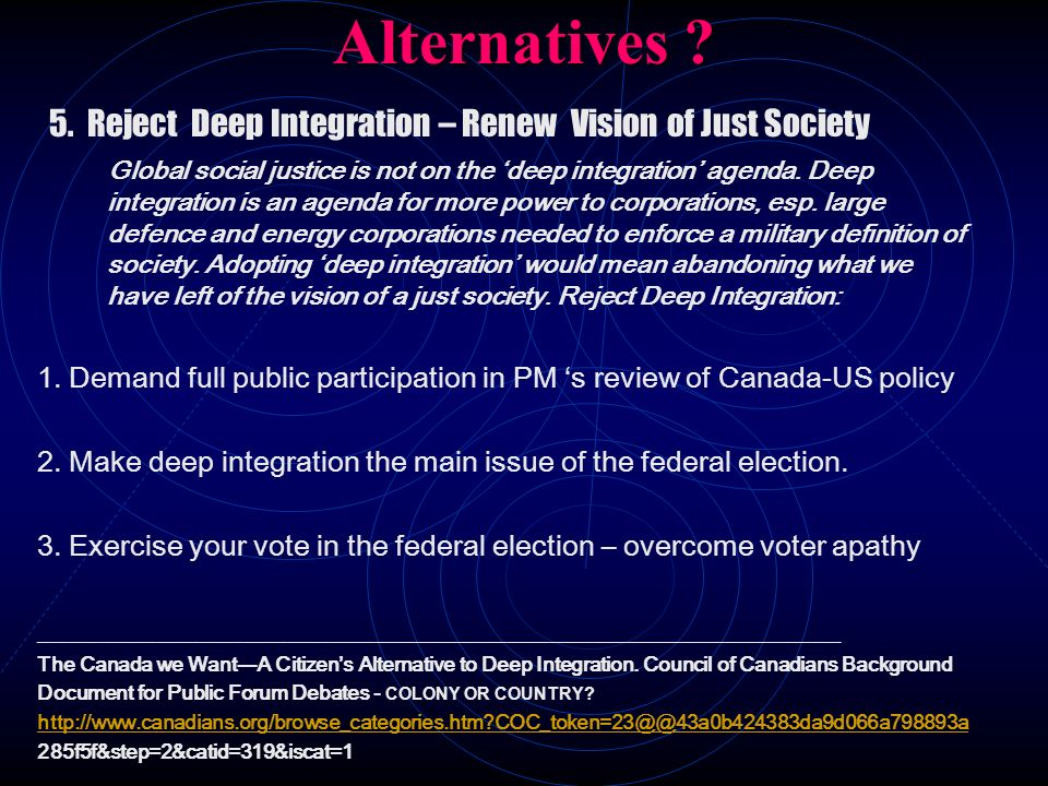 Alternatives 5. Reject Deep Integration – Renew Vision of Just Society.