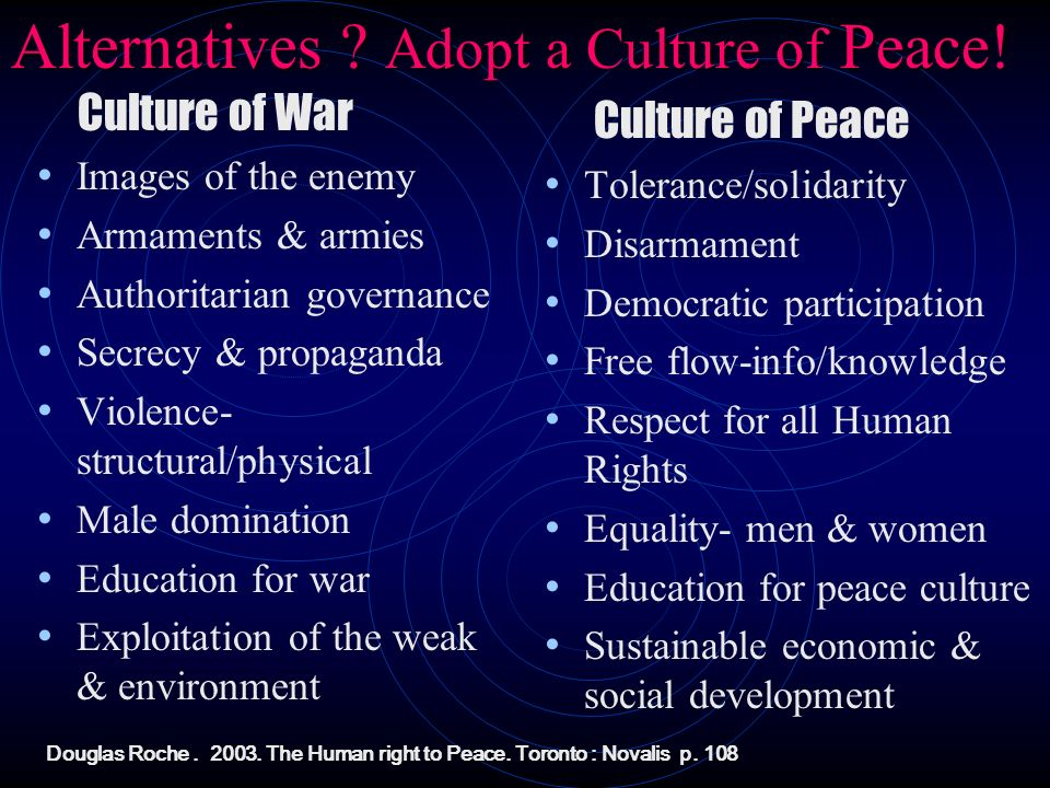 Alternatives Adopt a Culture of Peace!