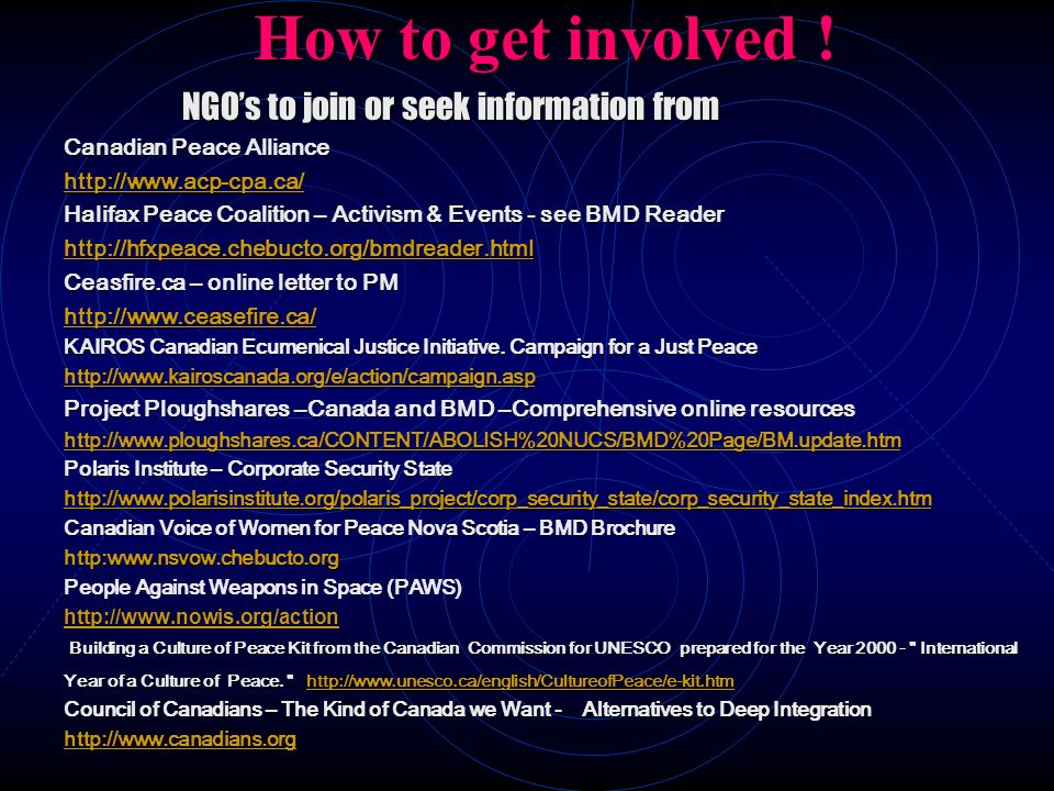 How to get involved ! NGO's to join or seek information from