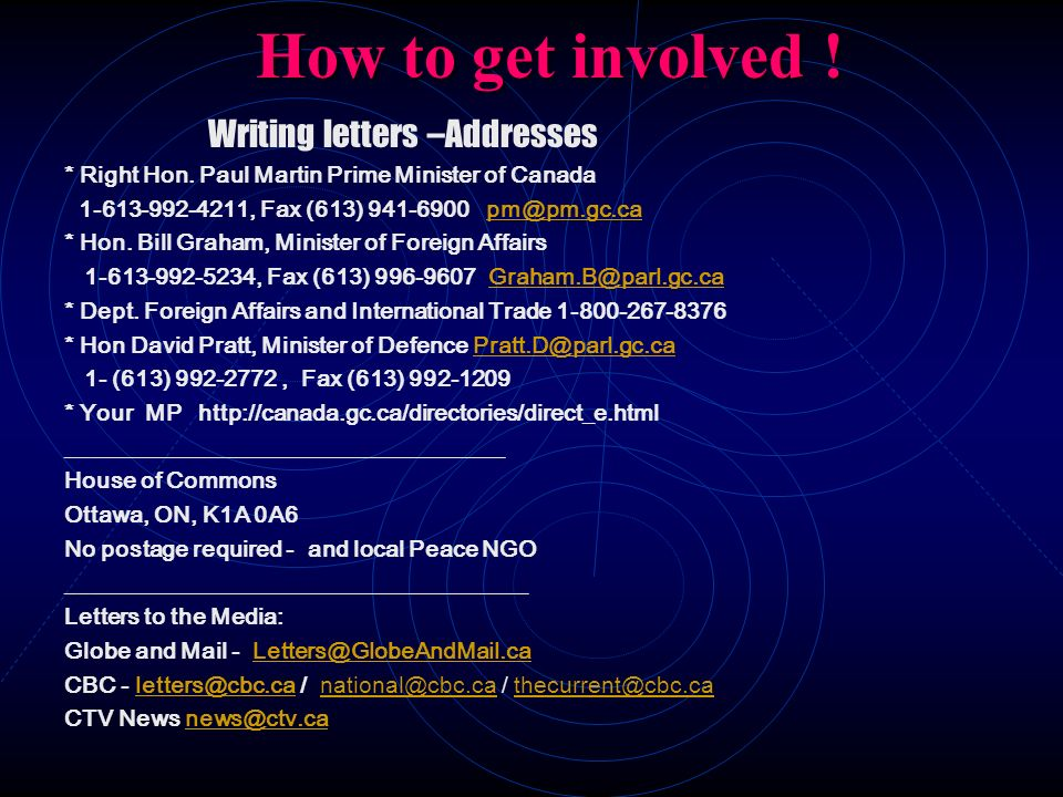 How to get involved ! Writing letters –Addresses