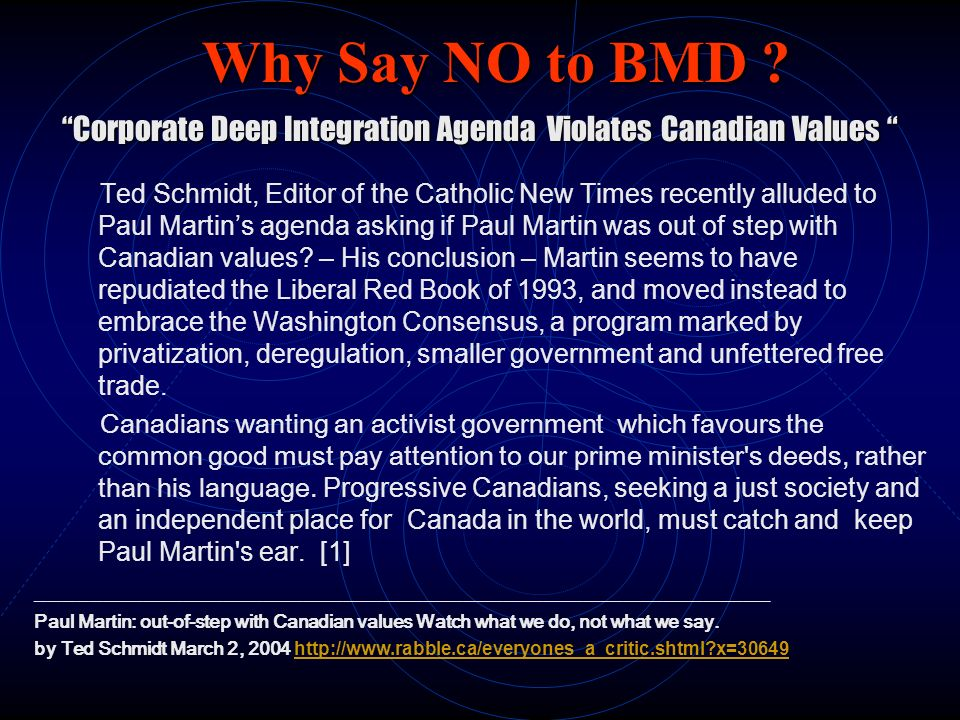 Corporate Deep Integration Agenda Violates Canadian Values