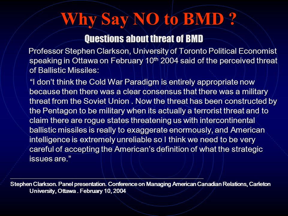 Questions about threat of BMD
