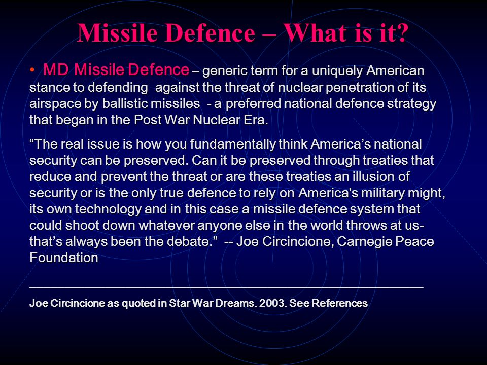 Missile Defence – What is it