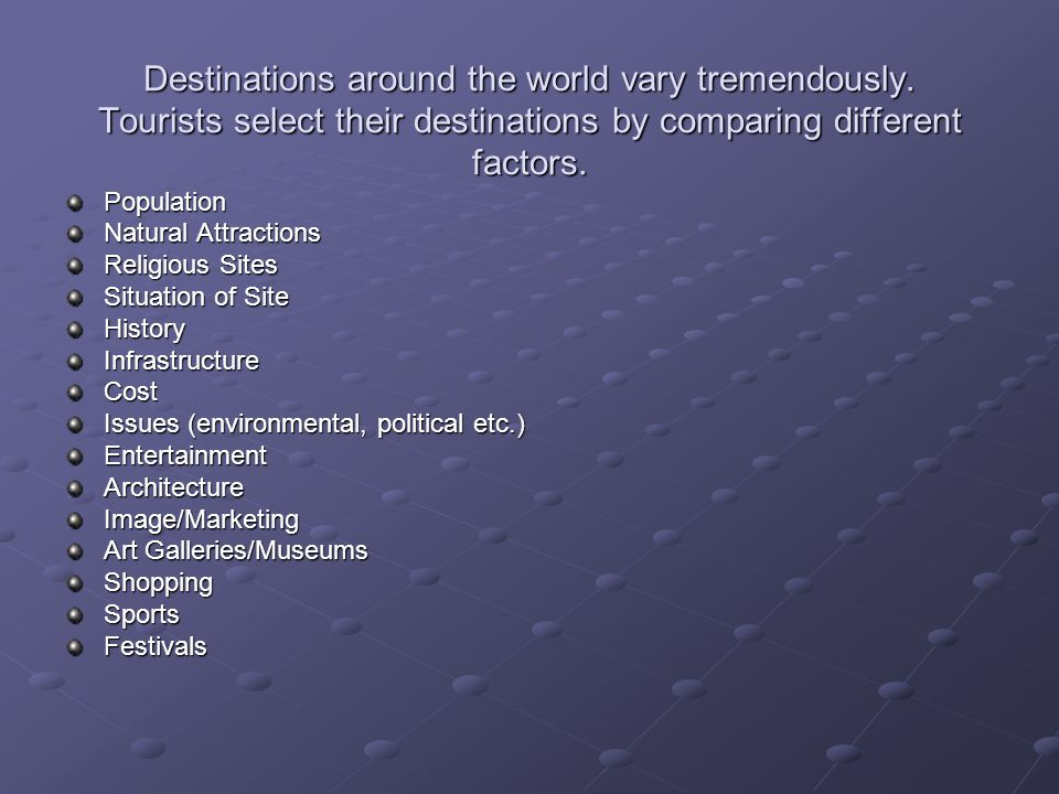 Destinations around the world vary tremendously