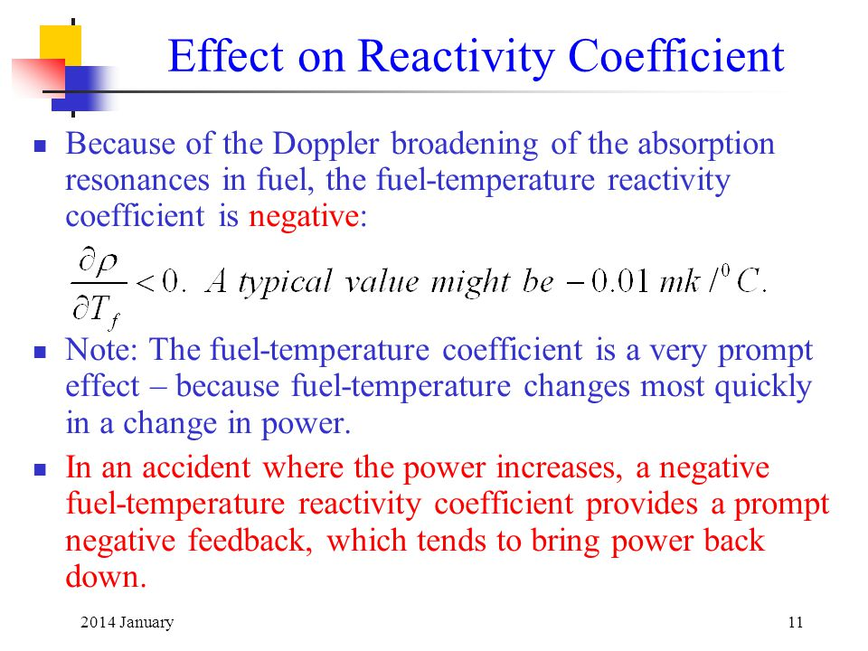 Effect on Reactivity Coefficient