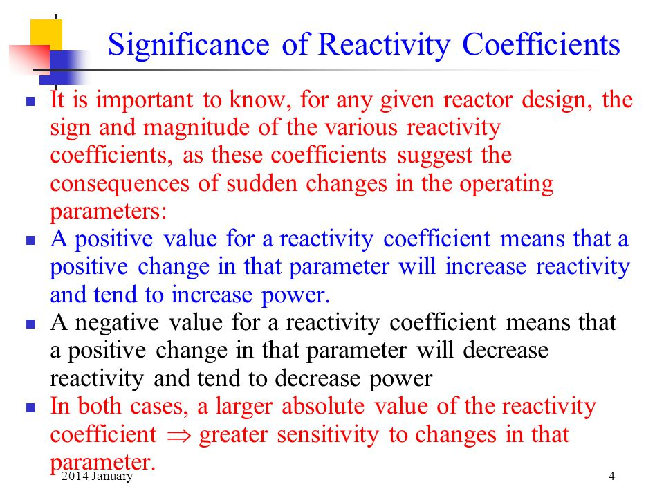 Significance of Reactivity Coefficients
