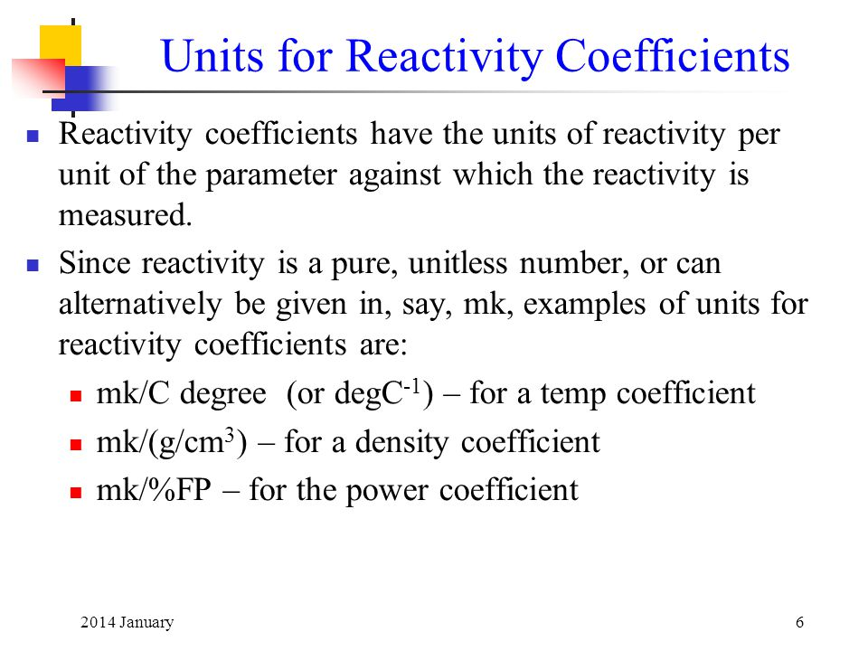 Units for Reactivity Coefficients