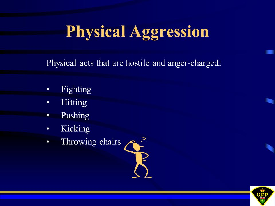 Physical Aggression Physical acts that are hostile and anger-charged: