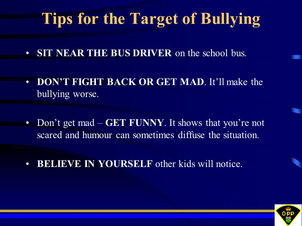 Tips for the Target of Bullying