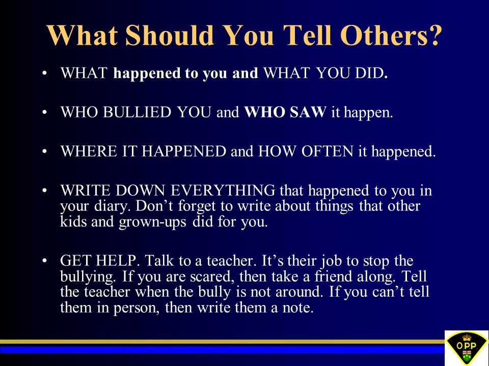 What Should You Tell Others