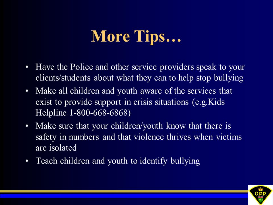 More Tips… Have the Police and other service providers speak to your clients/students about what they can to help stop bullying.