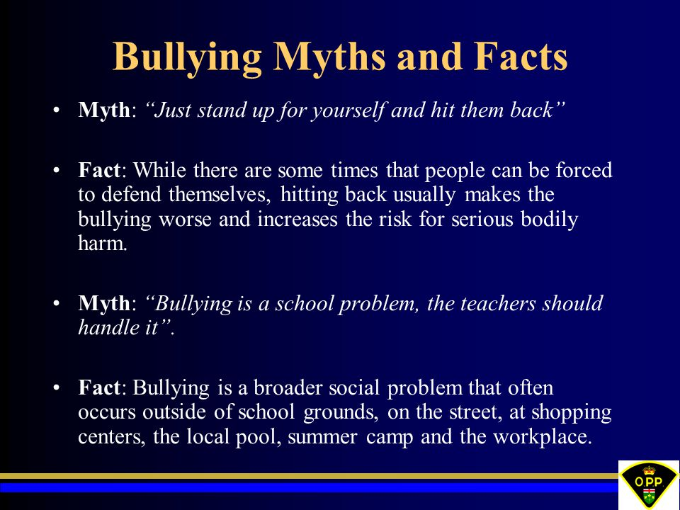 Bullying Myths and Facts