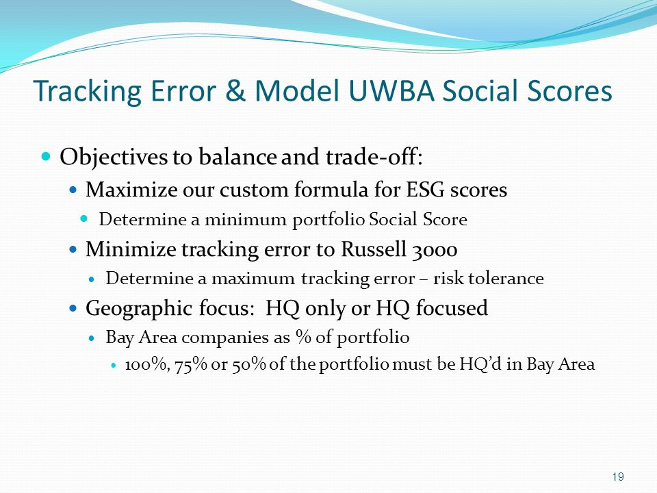 Tracking Error & Model UWBA Social Scores