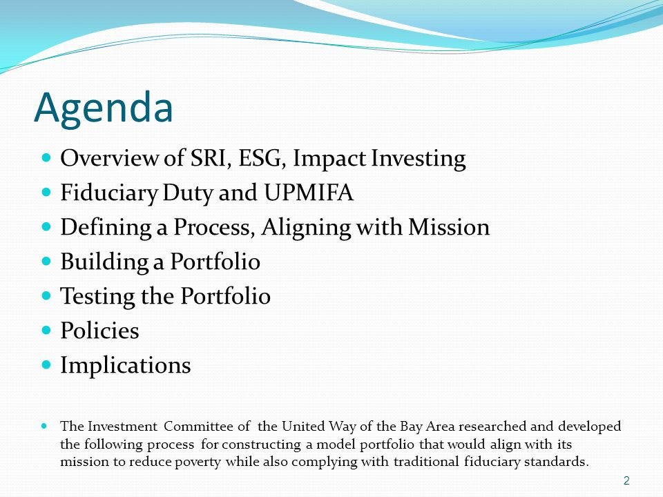 Agenda Overview of SRI, ESG, Impact Investing
