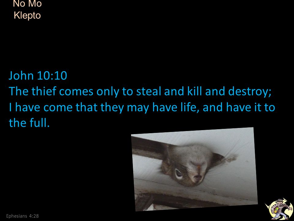 The thief comes only to steal and kill and destroy;