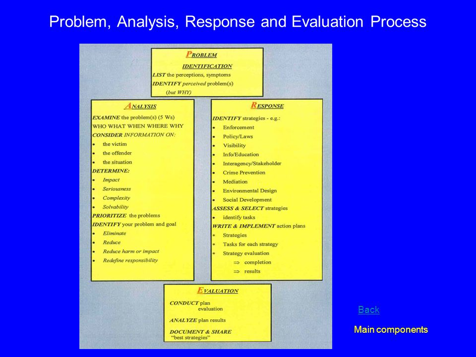Problem, Analysis, Response and Evaluation Process