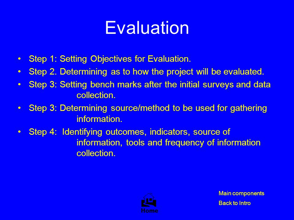Evaluation  Step 1: Setting Objectives for Evaluation.