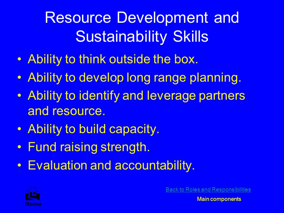 Resource Development and Sustainability Skills