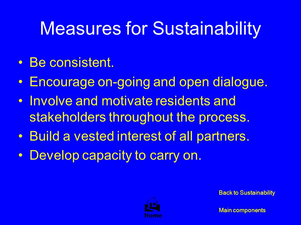 Measures for Sustainability