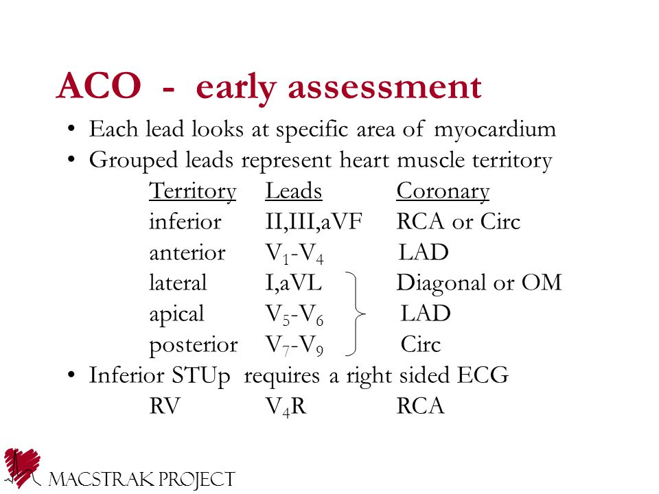 ACO - early assessment Each lead looks at specific area of myocardium