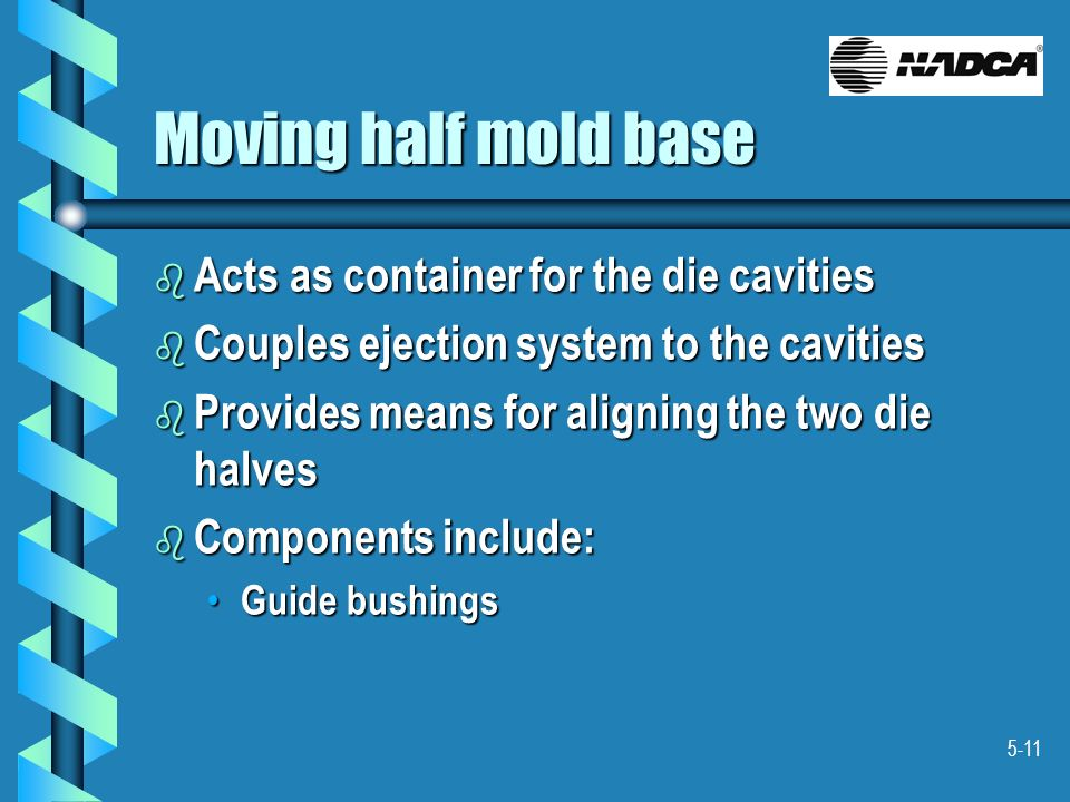Moving half mold base Acts as container for the die cavities