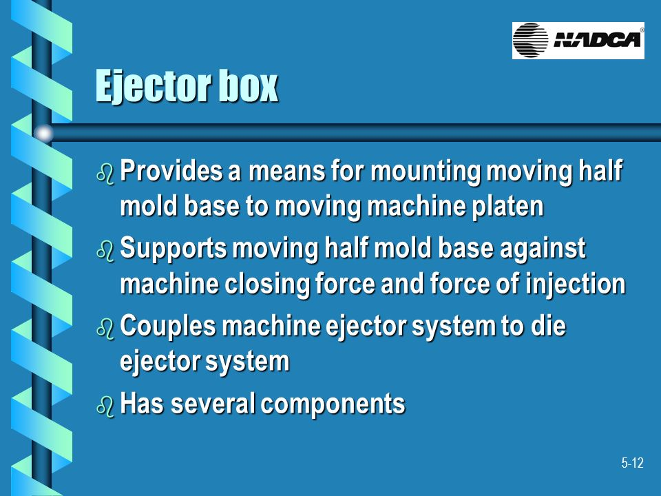 Ejector box Provides a means for mounting moving half mold base to moving machine platen.