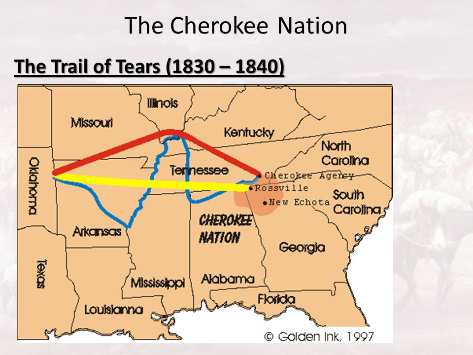 The Cherokee Nation The Trail of Tears (1830 – 1840)