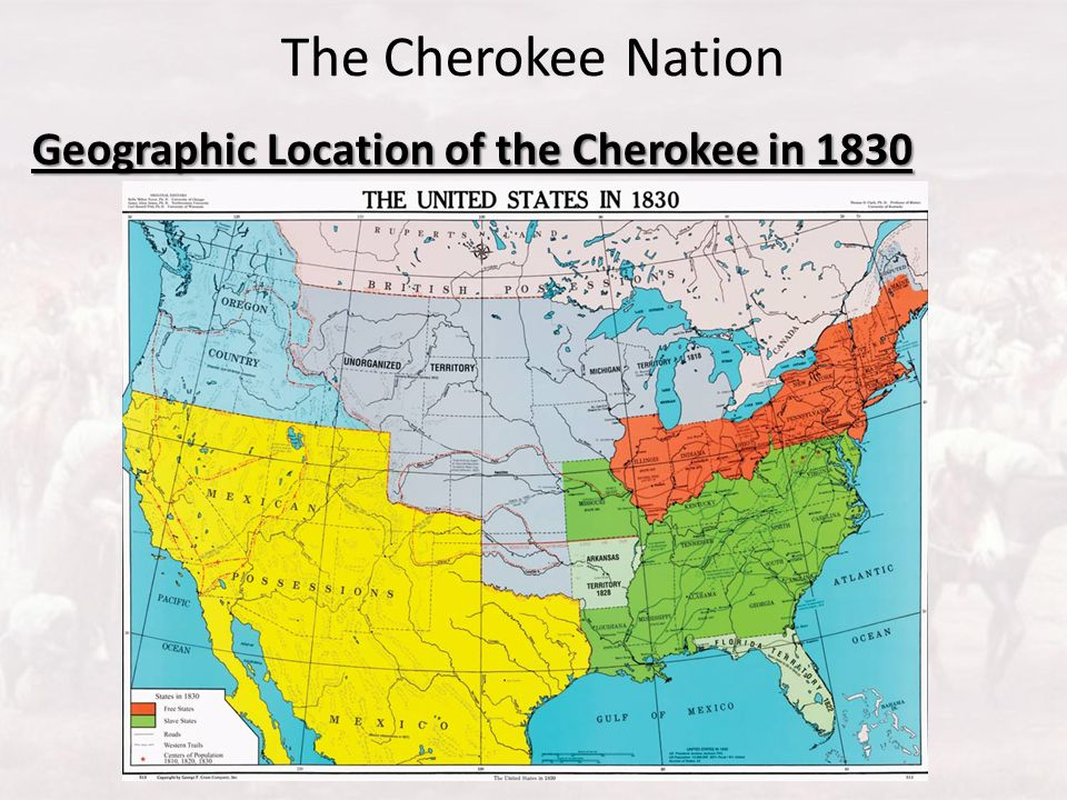 Geographic Location of the Cherokee in 1830