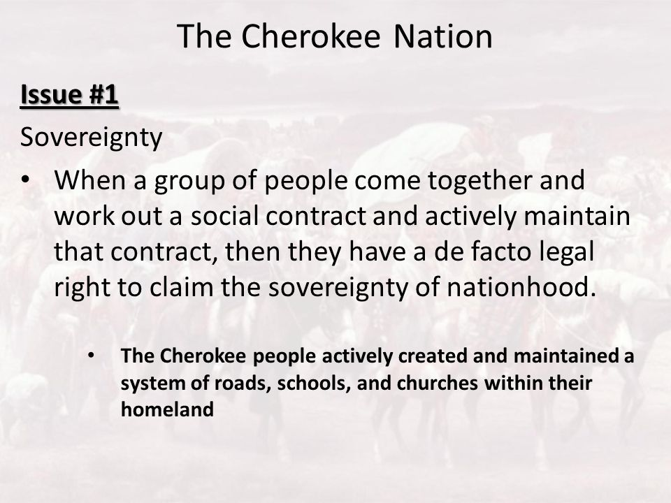 The Cherokee Nation Issue #1 Sovereignty
