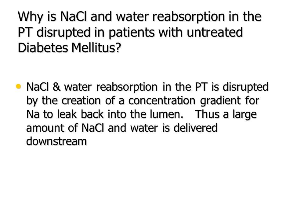 Why is NaCl and water reabsorption in the PT disrupted in patients with untreated Diabetes Mellitus