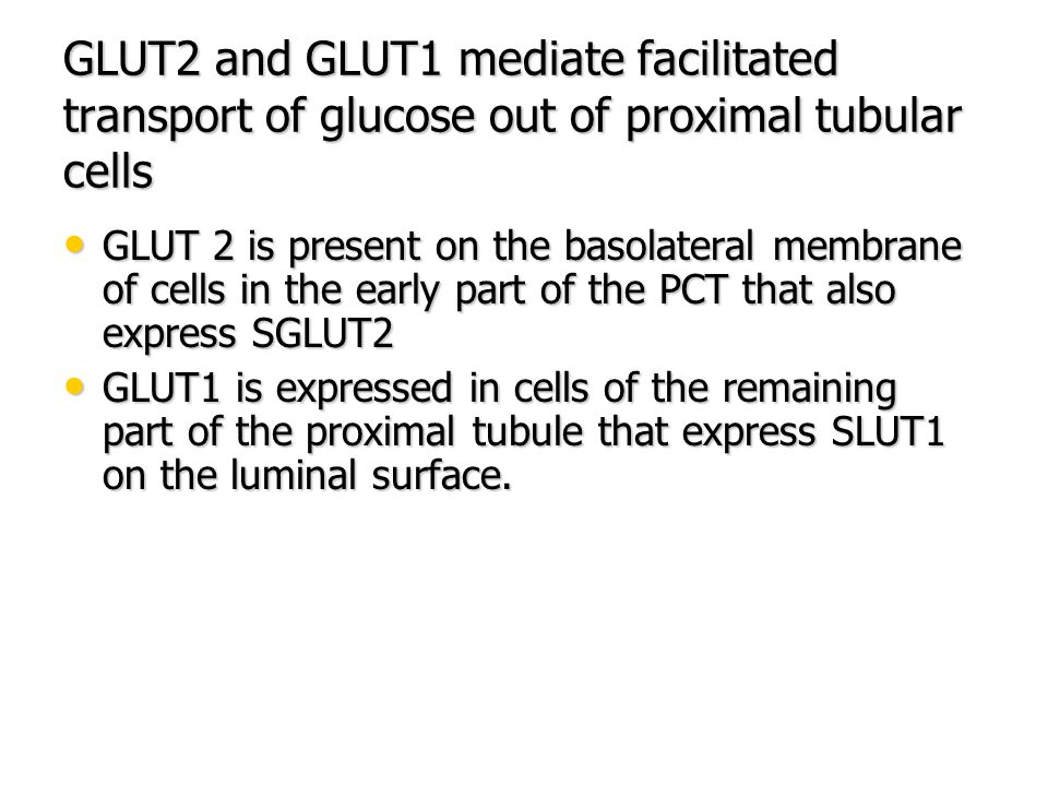 GLUT2 and GLUT1 mediate facilitated transport of glucose out of proximal tubular cells