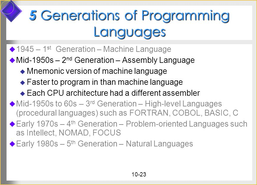 5 Generations of Programming Languages