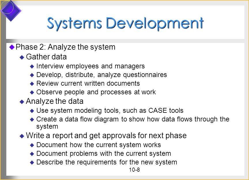 Systems Development Phase 2: Analyze the system Gather data