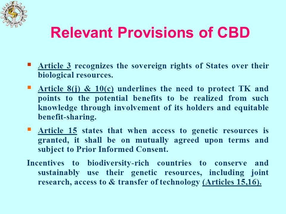 Relevant Provisions of CBD