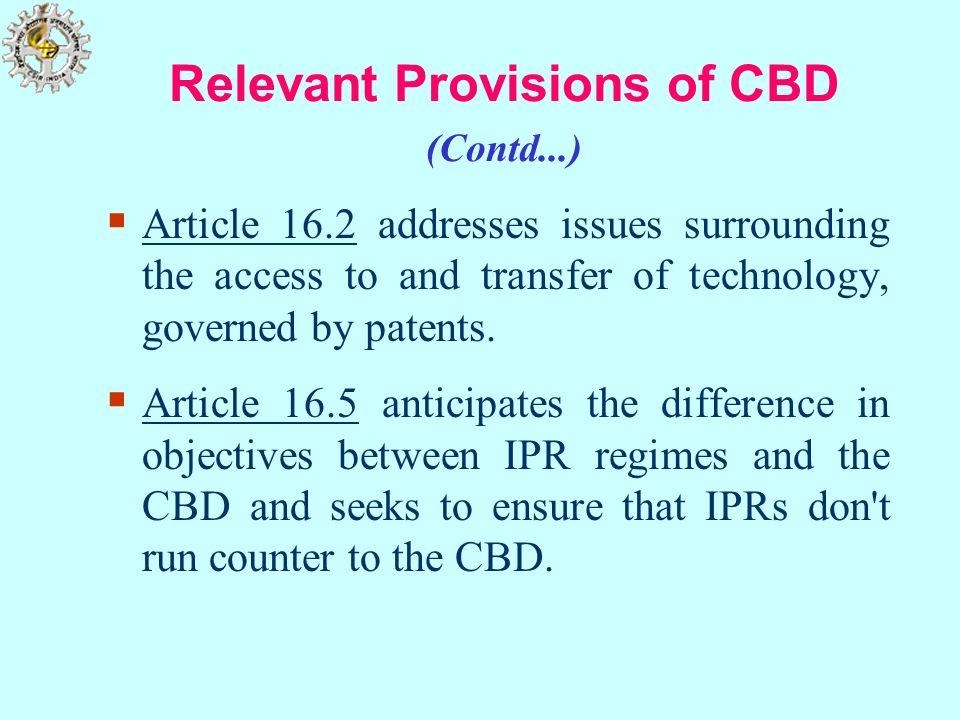 Relevant Provisions of CBD (Contd...)