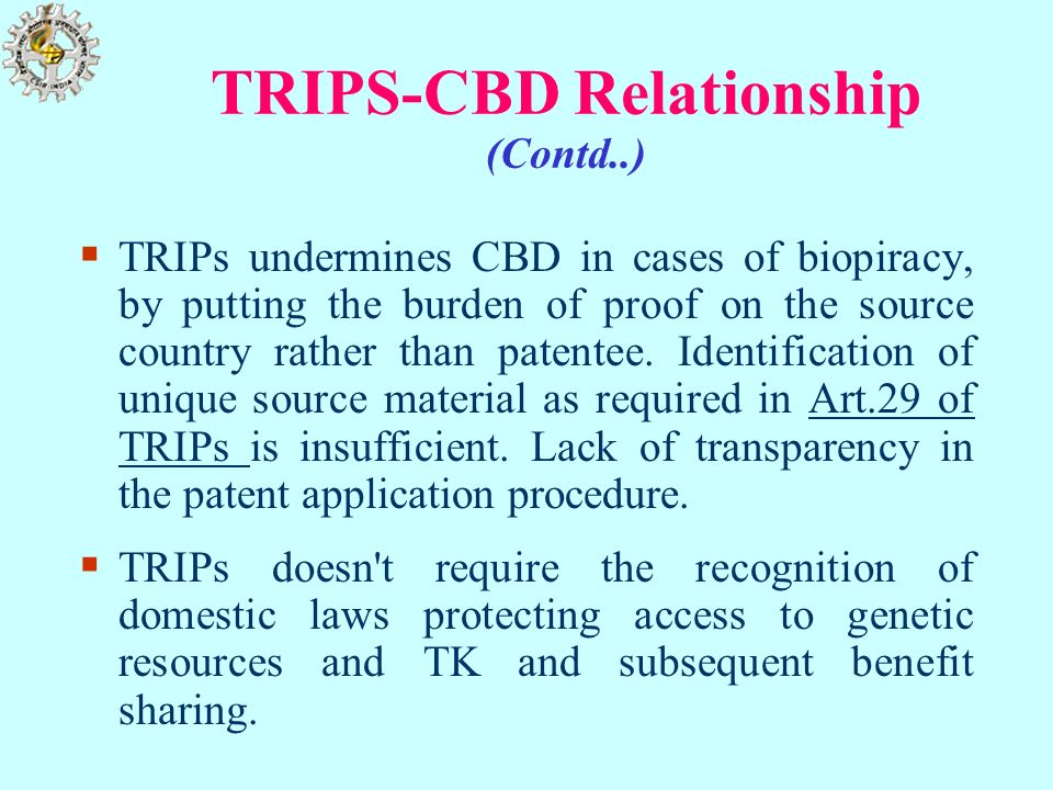 TRIPS-CBD Relationship (Contd..)