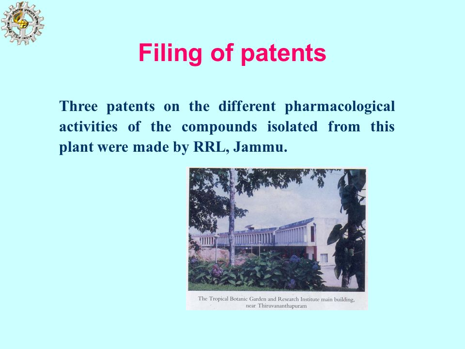 Filing of patentsThree patents on the different pharmacological activities of the compounds isolated from this plant were made by RRL, Jammu.