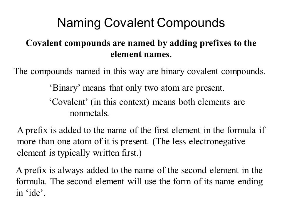 Naming binary covalent compounds prefixes