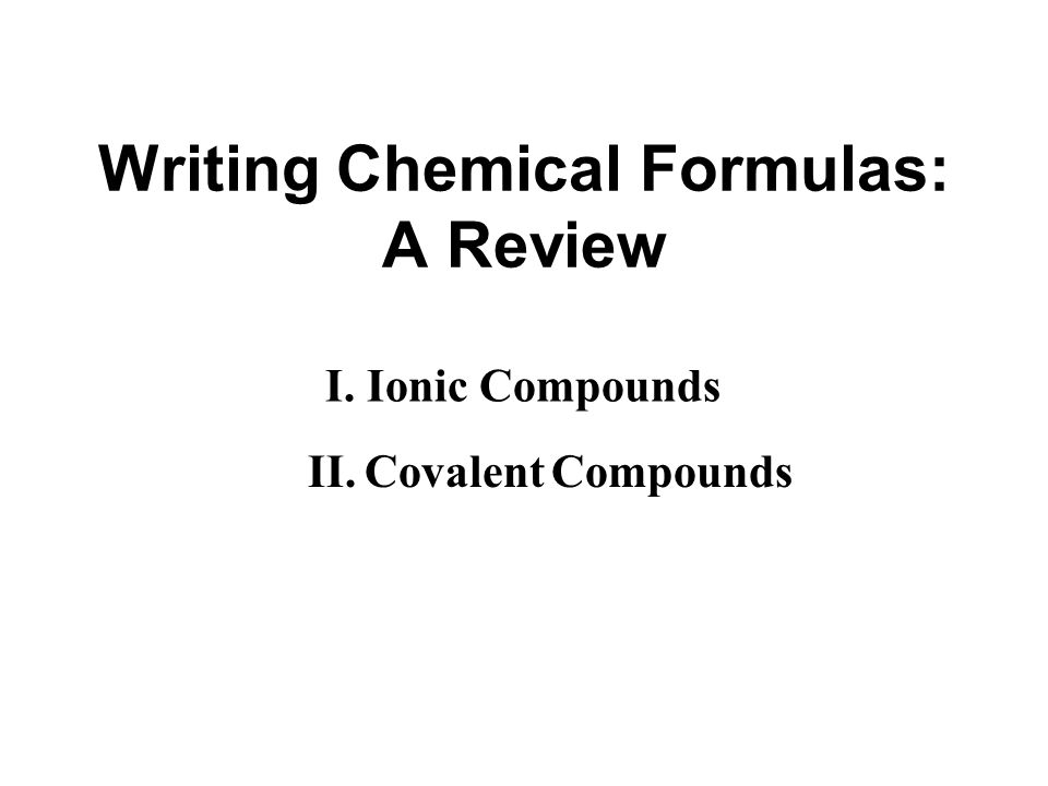 Writing Chemical Formulas: A Review