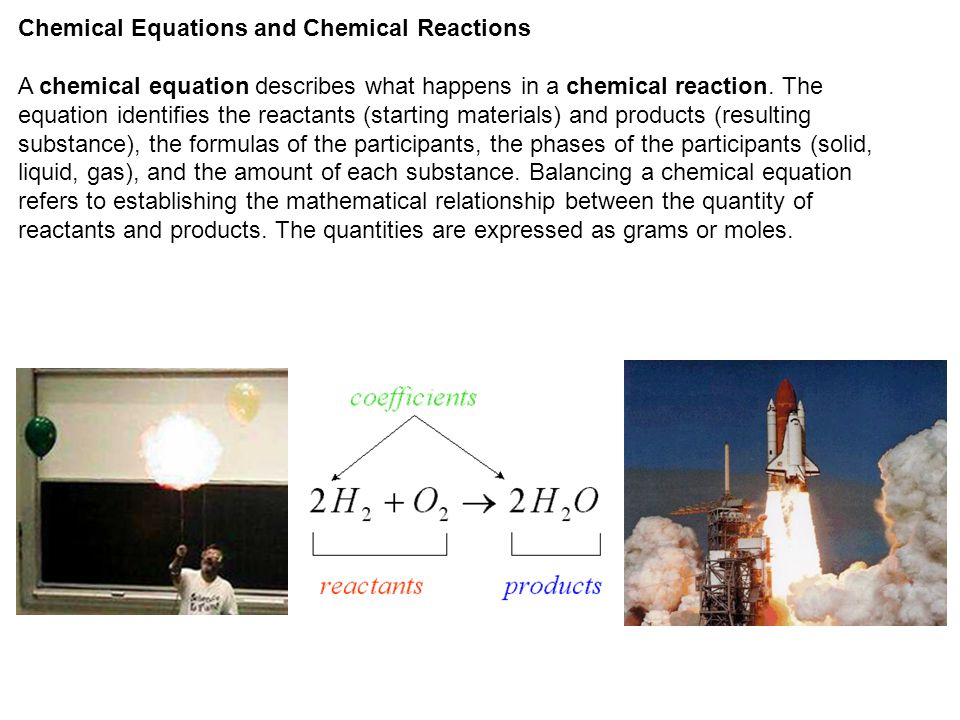 Chemical Equations and Chemical Reactions