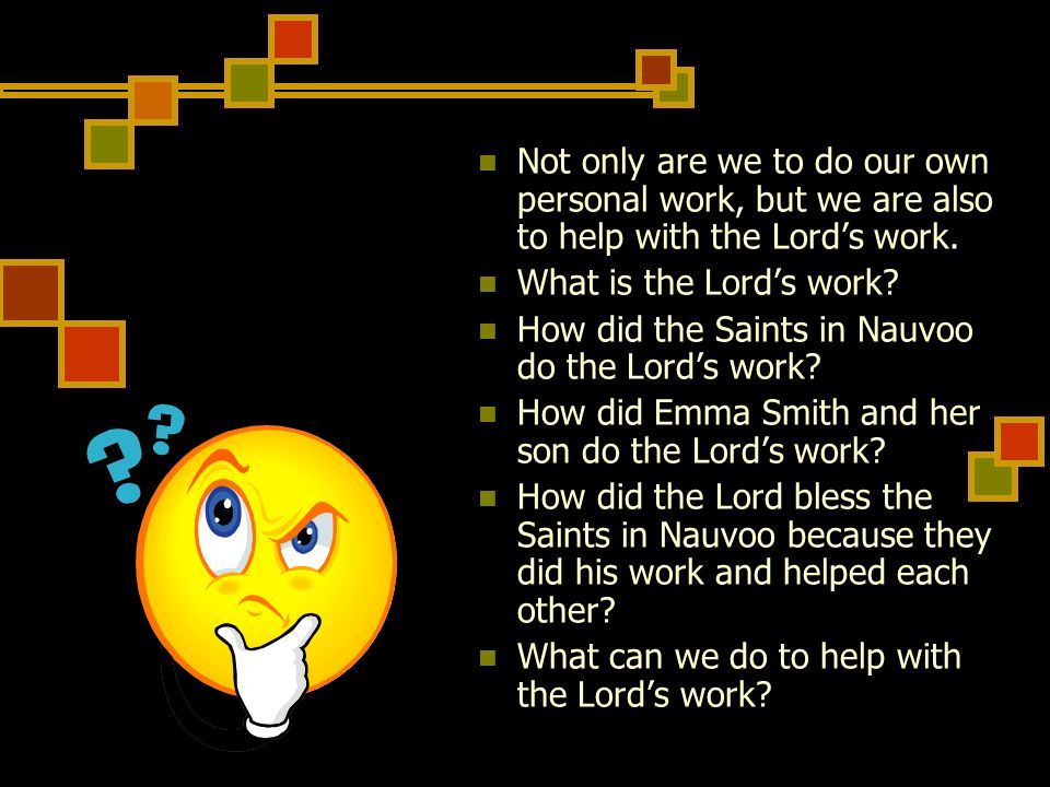 Not only are we to do our own personal work, but we are also to help with the Lord's work.