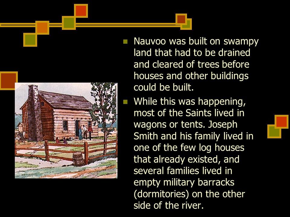 Nauvoo was built on swampy land that had to be drained and cleared of trees before houses and other buildings could be built.