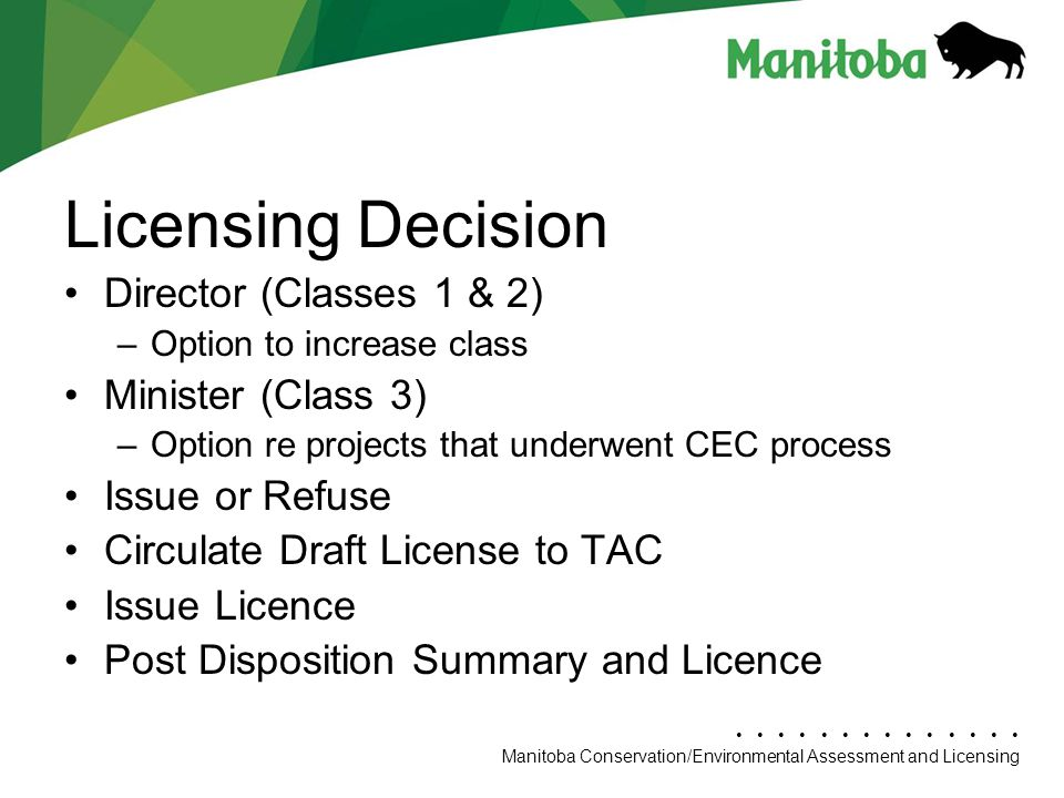 Licensing Decision Director (Classes 1 & 2) Minister (Class 3)